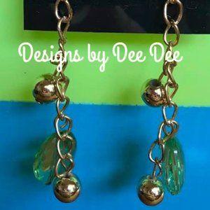Gold Tone Chain & Bead Drop Earrings